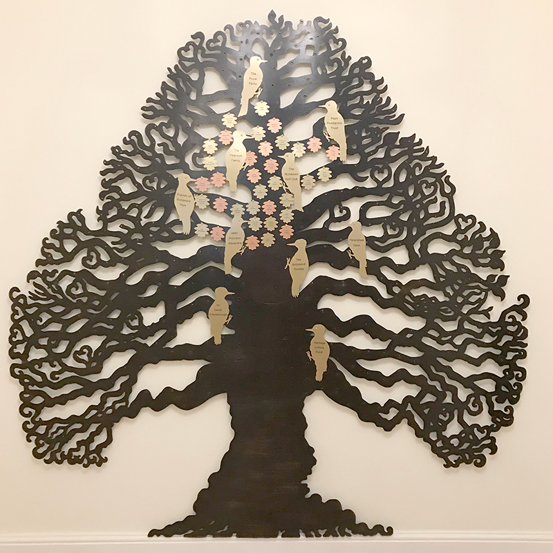 Fundraising tree by Bronwen Glazzard at Pembroke Lodge