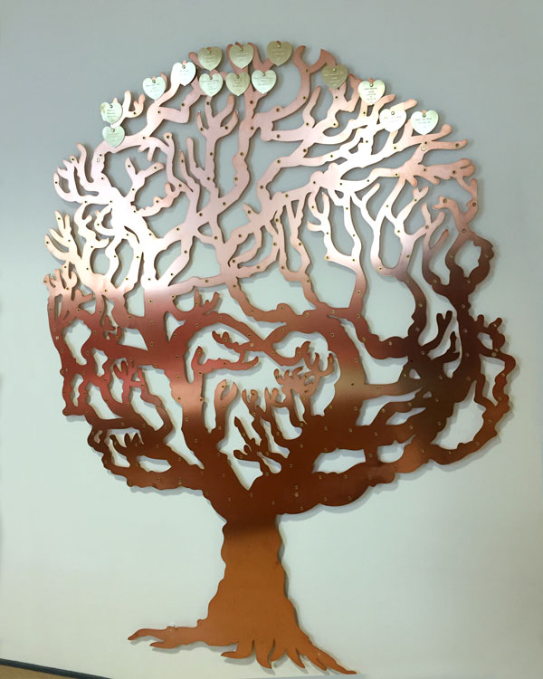 Copper Fundraising tree by Metallic Garden