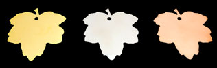 maple leaf plaques in gold, silver & bronze colours by Metallic Garden