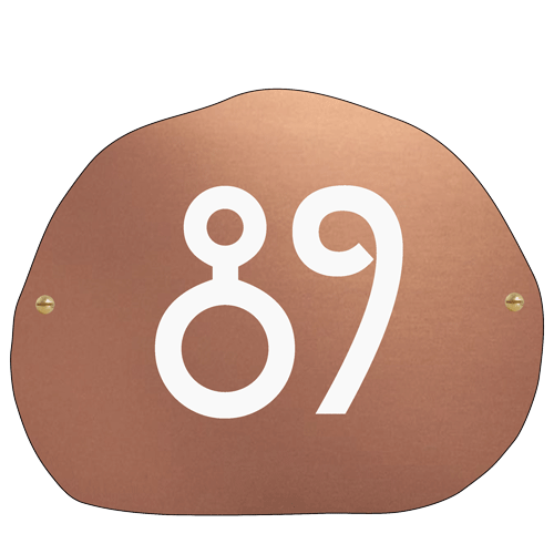 copper boulder plaque with house number engraving by Metallic Garden