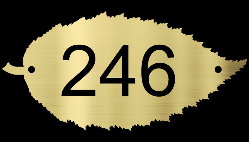 Hornbeam Leaf brass house number