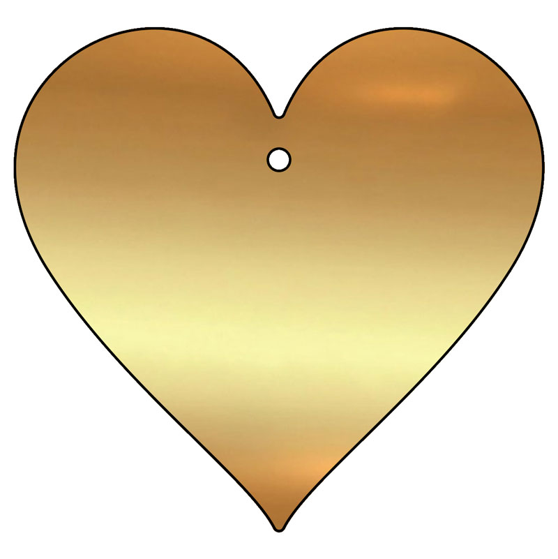 blank love heart brass plaque