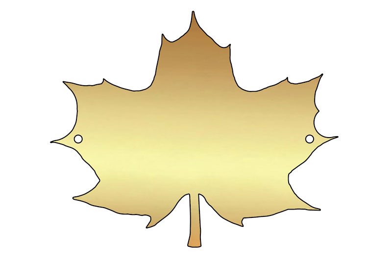 blank Norway maplw leaf brass plaque