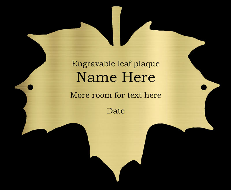 engraved brass birch leaf plaque