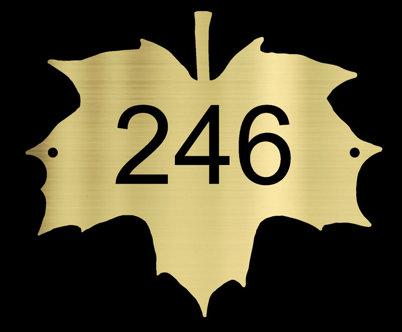 brass Norway Maple leaf house number plaque