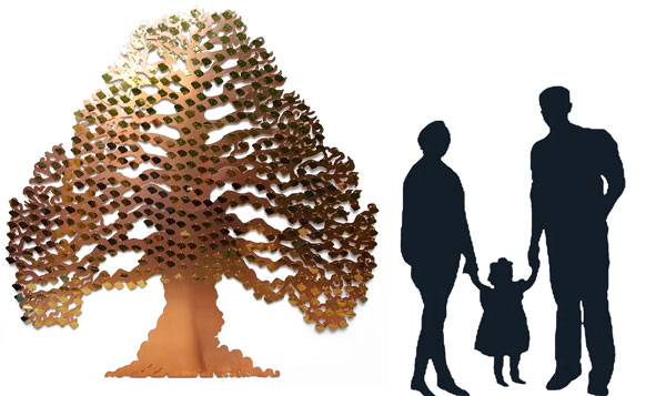 Illustrating the size of the Eternal tree from Metallic Garden, against silhouettes of people