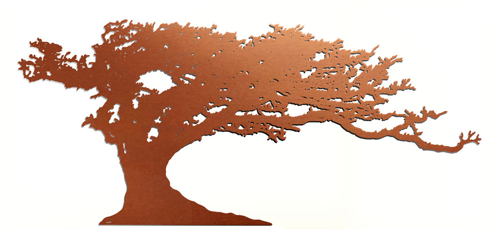 Windswept Tree - copper tree sculpture by Gary Pickles. Ideal for rememberance, donor recognition or commemoration